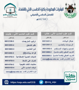 Summer Semester Courses at College of Computing in Al-Qufudhah