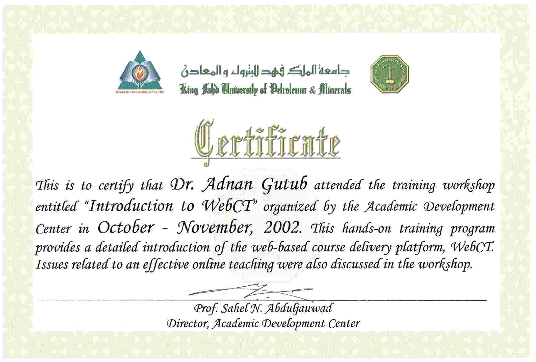 Professional Development Adnan Abdulaziz Muhammad Gutub