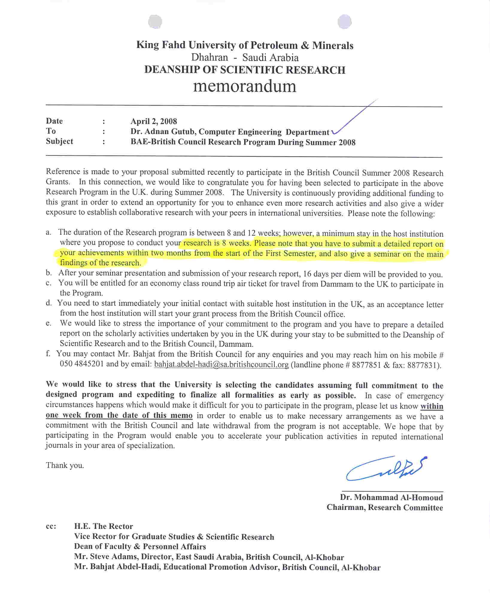 Representing kfupm adnan abdulaziz muhammad gutub department visit invitation pdf award letter jpg pdf stopboris Gallery