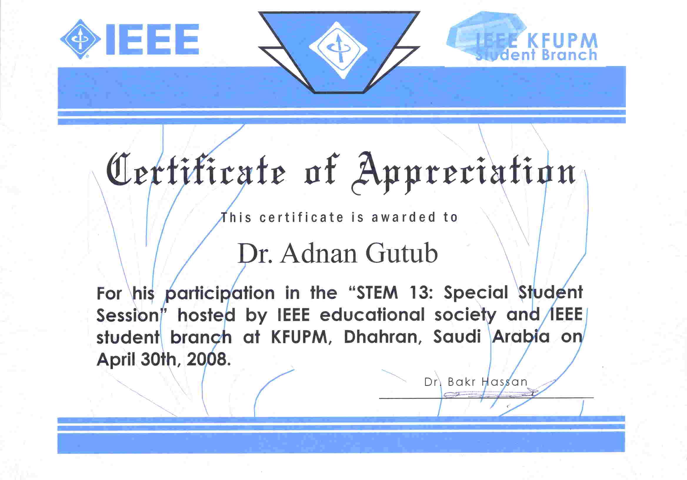 Representing Kfupm Adnan Abdulaziz Muhammad Gutub Department