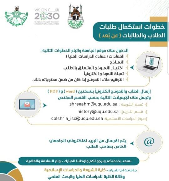 خطوات استكمال طلبات طلاب وطالبات الدراسات العليا عن بعد كلية الشريعة والدراسات الإسلامية جامعة أم القرى