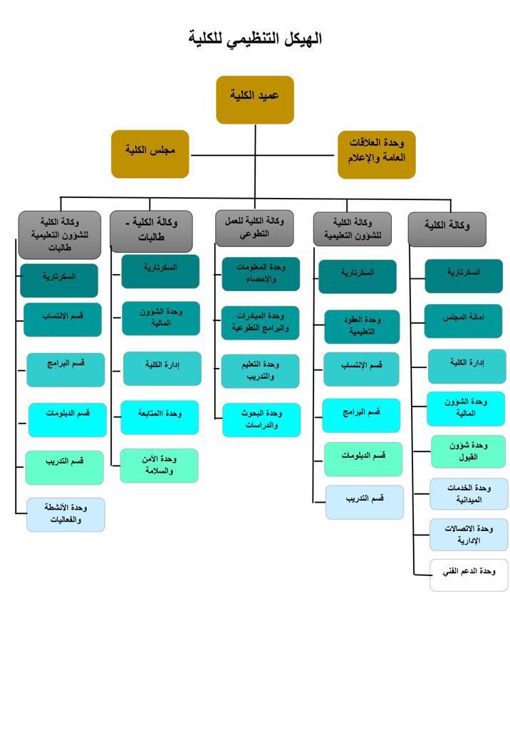 الهيكل التنظيمي للكلية