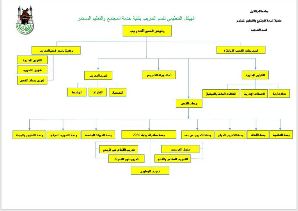 الهيكل التنظيمي لقسم التدريب