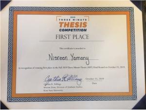 مبتعثة اللغة الإنجليزية نسرين يماني تحصد المركز الأول في مسابقة (3MT)