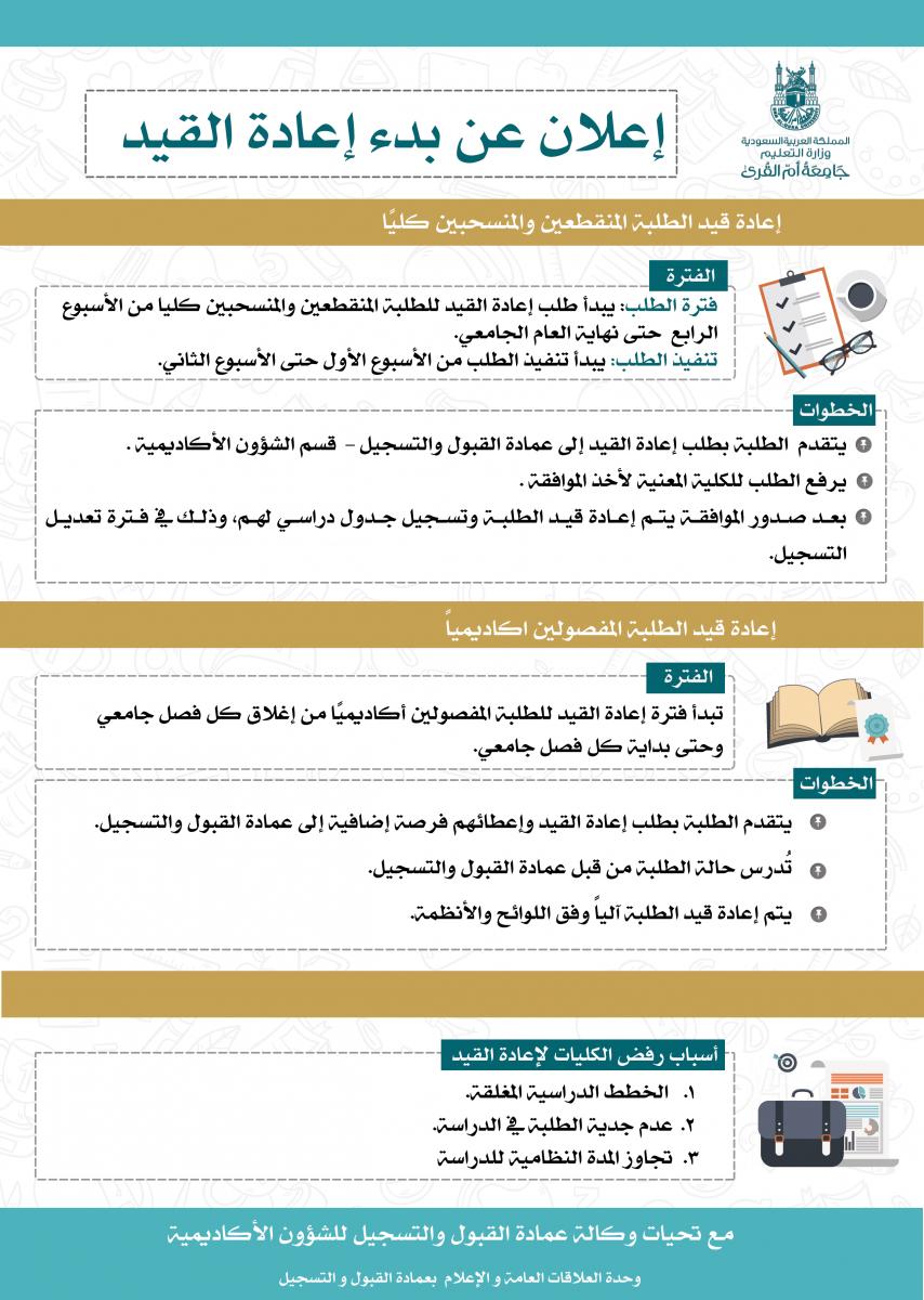 عمادة القبول والتسجيل تعلن عن بدء إعادة القيد عمادة القبول والتسجيل وكالة الجامعة للشؤون التعليمية جامعة أم القرى