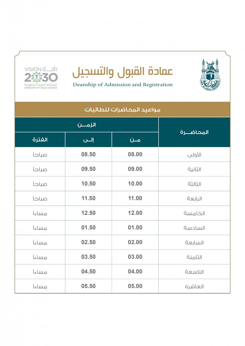 جدول مواعيد محاضرات الطلبات