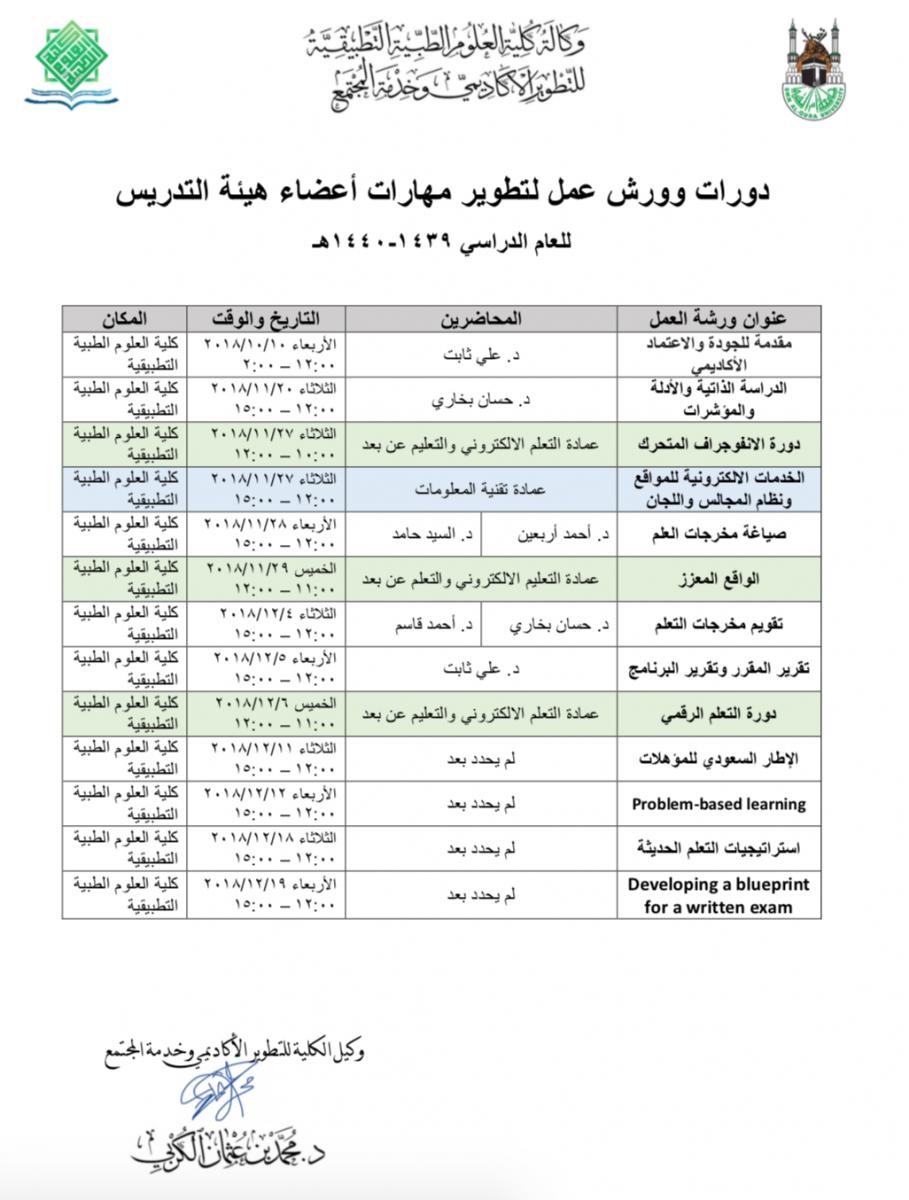 دورات وورش عمل لتطوير مهارات أعضاء هيئة التدريس