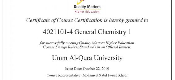 General Chemistry Course Achieves the Standards of the Global QM Organization