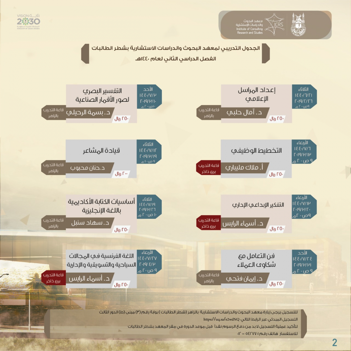 Second Semester Training Courses Schedule (1440 A.H.) – Makkah Campus