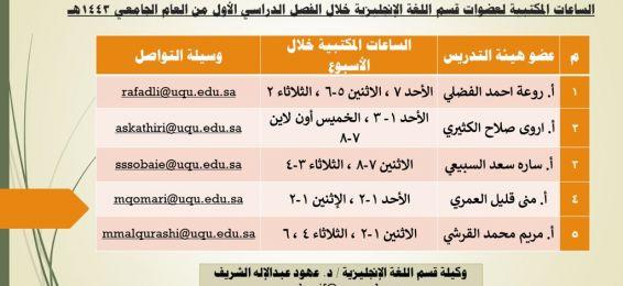 جدول الساعات المكتبية لعضوات قسم اللغة الإنجليزية خلال الفصل الدراسي الأول 1443 هـ