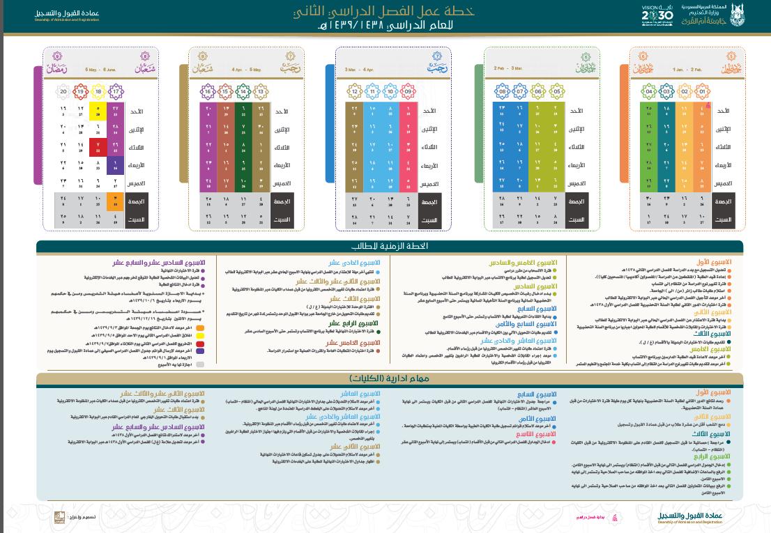 Calendar for the 2nd Semester 1438/1439AH
